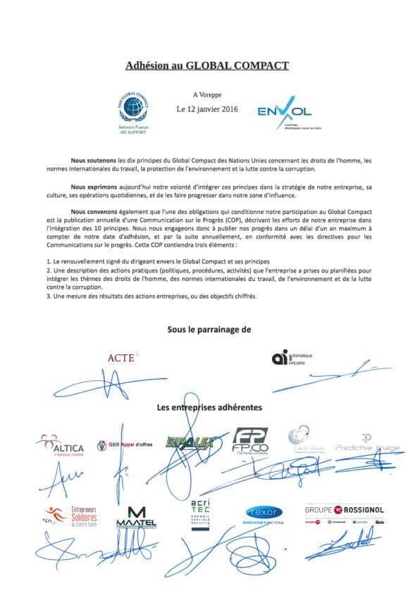 GBS Appel d'offres adhère au Global Compact de l'ONU